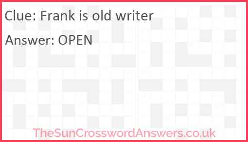 Frank is old writer Answer