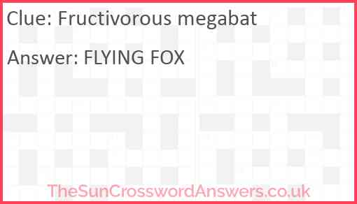 Fructivorous megabat Answer