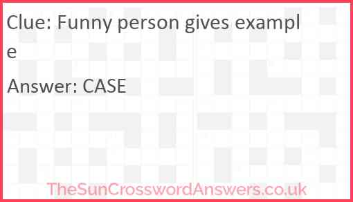 Funny person gives example Answer