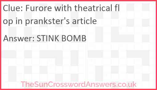 Furore with theatrical flop in prankster's article Answer