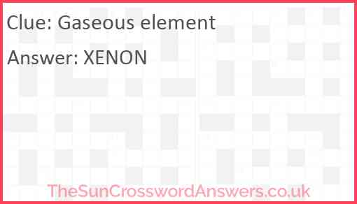 Gaseous element Answer