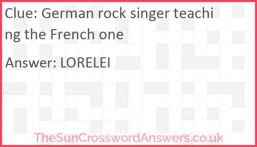 German rock singer teaching the French one Answer
