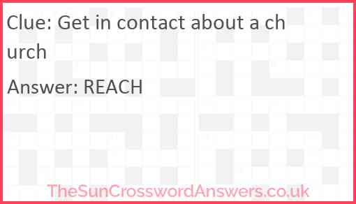 Get in contact about a church Answer