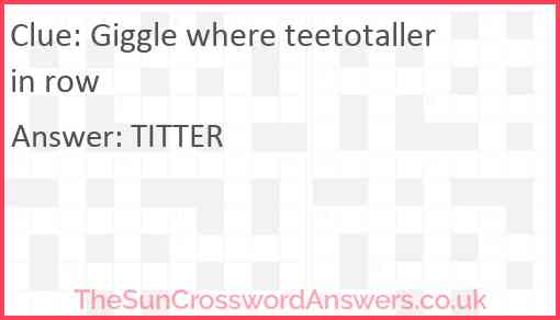Giggle where teetotaller in row Answer