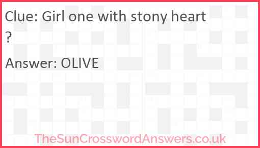 Girl one with stony heart? Answer