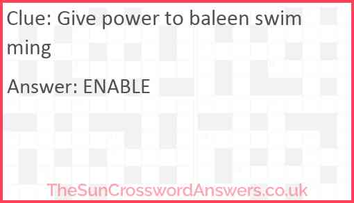 Give power to baleen swimming Answer