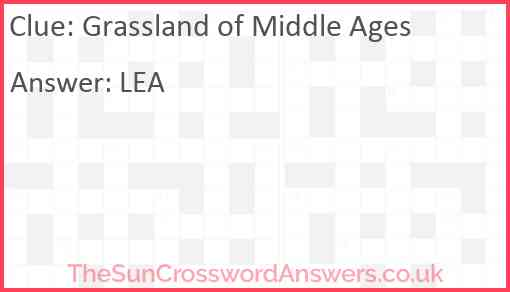 Grassland of Middle Ages Answer