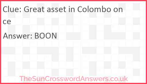 Great asset in Colombo once Answer