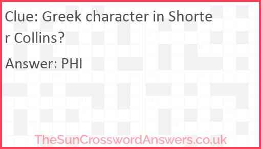 Greek character in Shorter Collins? Answer
