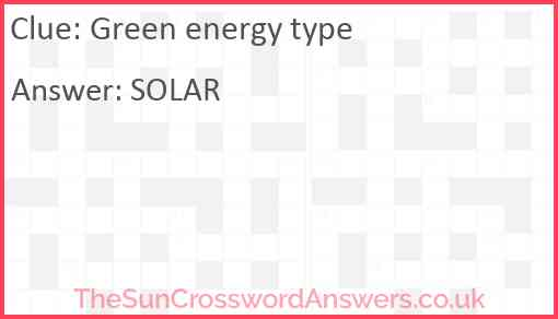 Green energy type Answer