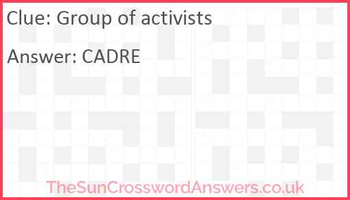 Group of activists Answer