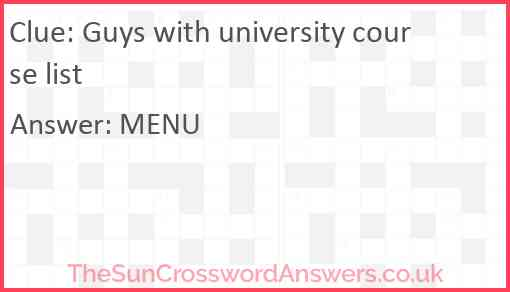 Guys with university course list Answer