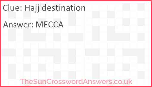 Hajj destination Answer