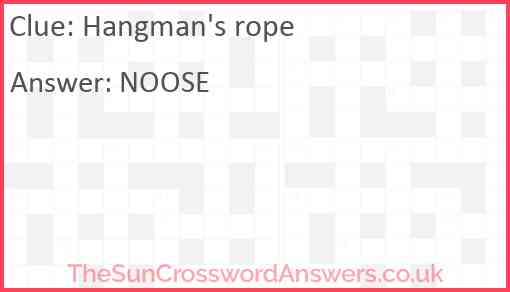 Hangman's rope Answer