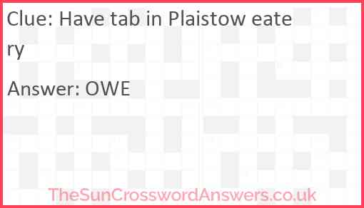 Have tab in Plaistow eatery Answer