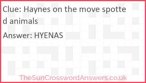 Haynes on the move spotted animals Answer