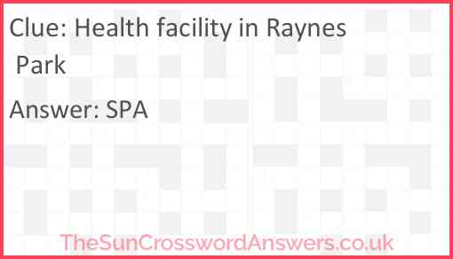 Health facility in Raynes Park Answer