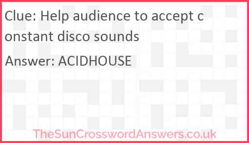 Help audience to accept constant disco sounds Answer