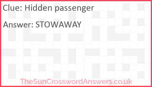 Hidden passenger Answer