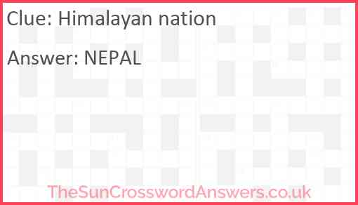 Himalayan nation Answer
