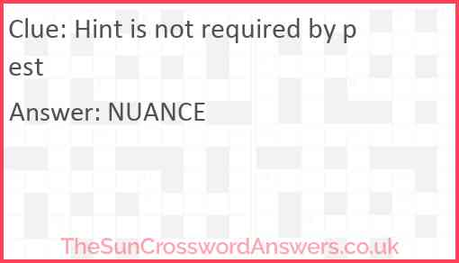 Hint is not required by pest Answer