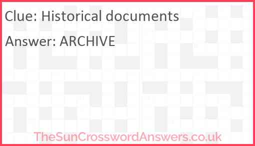 Historical documents Answer