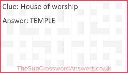 House of worship Answer
