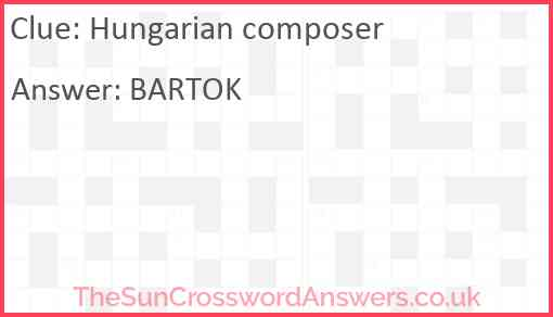 Hungarian composer Answer