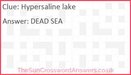 Hypersaline lake Answer