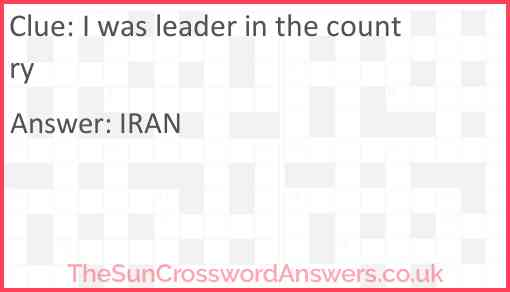 I was leader in the country Answer