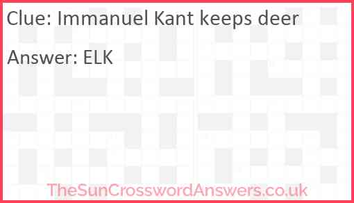 Immanuel Kant keeps deer Answer