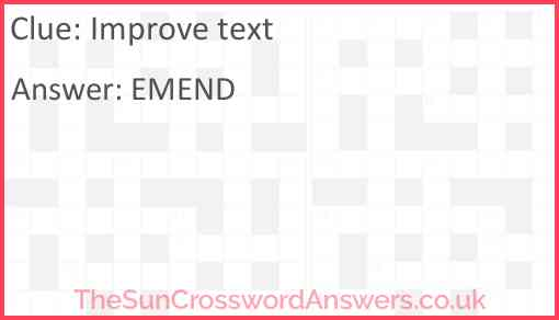 Improve text Answer