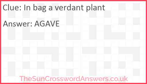In bag a verdant plant Answer