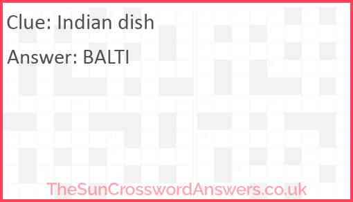 Indian dish Answer
