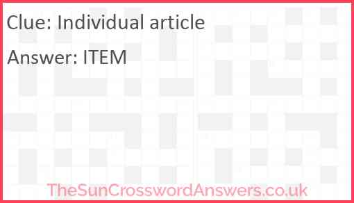 Individual article Answer