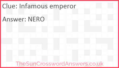 Infamous emperor Answer