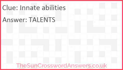 Innate abilities Answer
