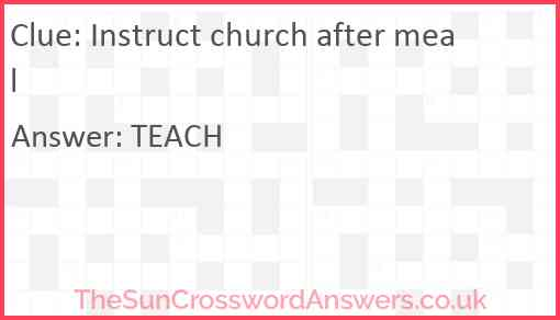 Instruct church after meal Answer