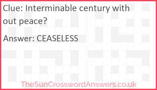 Interminable century without peace? Answer