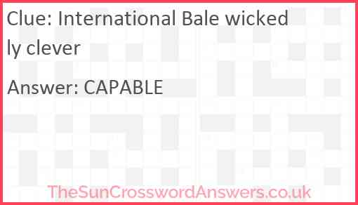 International Bale wickedly clever Answer