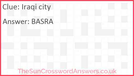 Iraqi city Answer