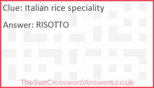 Italian rice speciality Answer