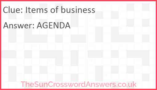 Items of business Answer