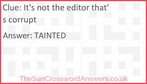 It's not the editor that's corrupt Answer