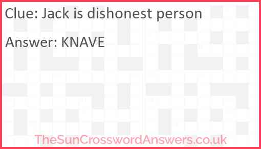 Jack is dishonest person Answer