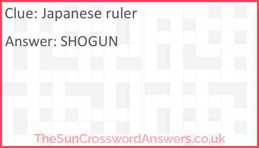 Japanese ruler Answer