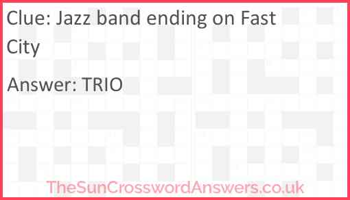 Jazz band ending on Fast City Answer