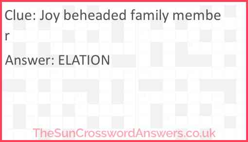Joy beheaded family member Answer