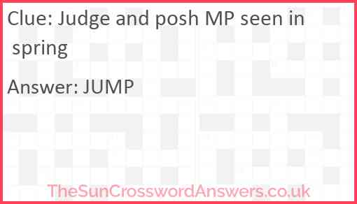 Judge and posh MP seen in spring Answer