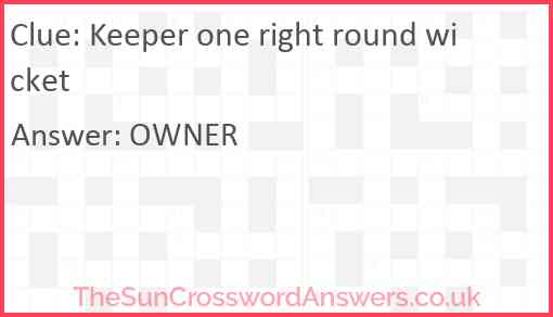 Keeper one right round wicket Answer
